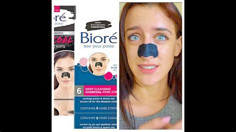 Bioré Charcoal nose strips Review and Demonstration - YouTube
